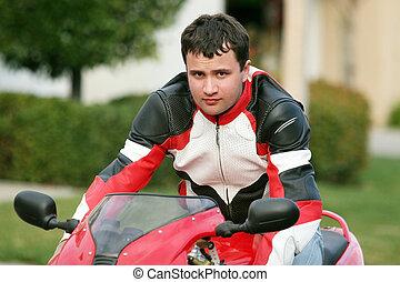 uomo, su, uno, rosso, bicicletta