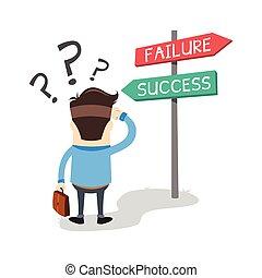 uomo, successo, affari, confuso