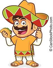 uomo, taco, messicano, presa a terra
