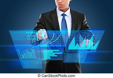 uomo, tecnologia, interattivo