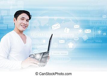 uomo, tecnologia, laptop