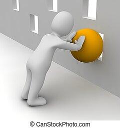 uomo, tentando, spinta, arancia, palla, attraverso, piccolo, hole., 3d, reso, illustration.