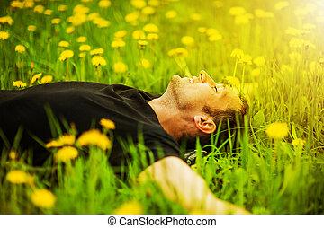uomo, trovandosi erba, a, giorno pieno sole