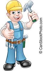 uomo tuttofare, carpentiere, cartone animato, carattere, con, martello