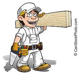 uomo tuttofare, -, carpentiere, colorare, esso, te stesso