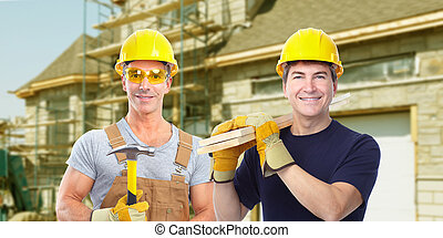 uomo tuttofare, con, uno, hammer., casa, renovation.
