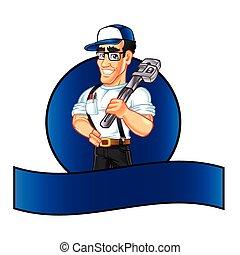 uomo tuttofare, idraulico, cartone animato, carattere