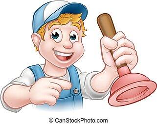 uomo tuttofare, idraulico, con, tuffatore, cartone animato, carattere