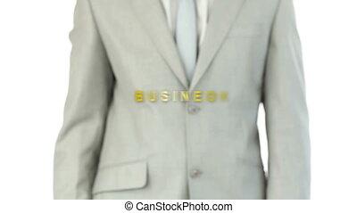 uomo, urgente, holographic, affari, b