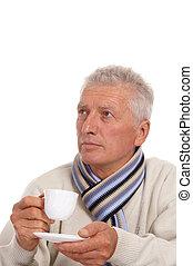 uomo, vecchio, tazza