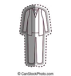 uomo, vestire, casuale, icona
