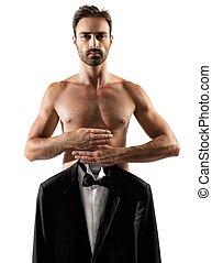 uomo, vestire, chooses, indossare