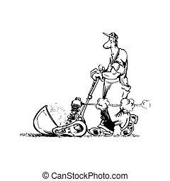 uomo, vettore, cartone animato, illustrazione, giardiniere