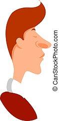 uomo, vettore, fondo., illustrazione, grande, bianco, naso