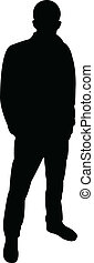 uomo, vettore, standing, silhouette