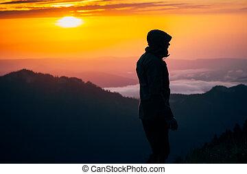 uomo, viaggiatore, silhouette