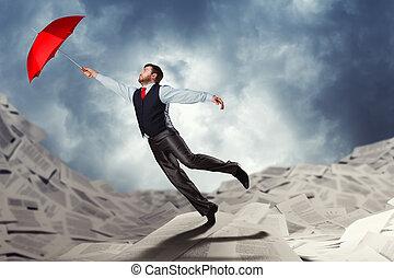 uomo, volare, con, ombrello