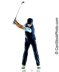 uomo, withe, isolato, fondo, golfista, golfing