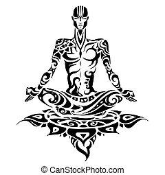 uomo, yoga, meditation., silhouette.