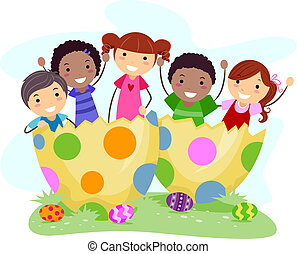 uova, bambini, pasqua