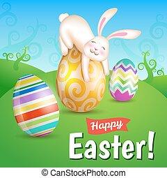uova, bianco, pasqua, prato, coniglietto