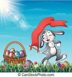 uova, cartone animato, campo, bandiera, presa a terra, cesto, erba, coniglietto pasqua, rosso