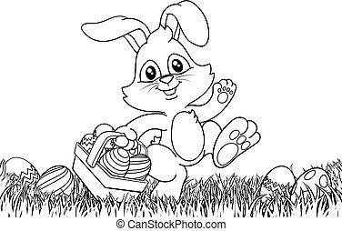 uova, cartone animato, cesto, coniglio pasqua, coniglietto, fondo