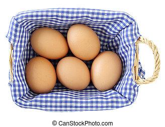 uova cesto, isolato, bianco