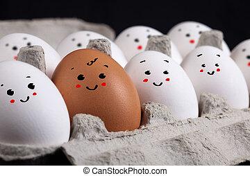uova, con, faccina affronta, in, guscio uovo
