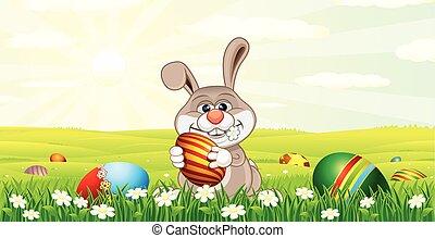 uova, coniglietto pasqua, caccia
