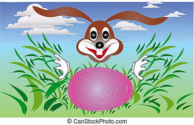uova, dall'aspetto, coniglio, erba, pasqua, coniglietto