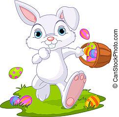 uova, easter., coniglietto, bastonatura