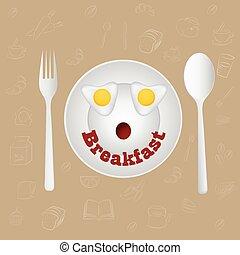 uova, faccia, vector., frittura, breakfast., felice