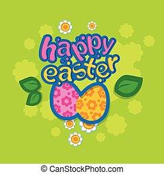 uova, fiori, congedi verdi, pasqua felice, vacanza, cartolina auguri, colorito, bandiera