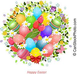 uova, fiori, pasqua, cartolina auguri