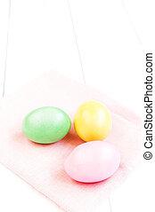 uova, fondo, chiudere, legno, pasqua, bianco, colorito, su.