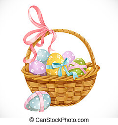uova, isolato, fondo, cesto, bianco, pasqua