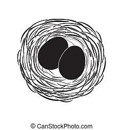 uova, nero, nido
