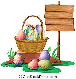 uova pasqua, appresso, uno, legno, cartello