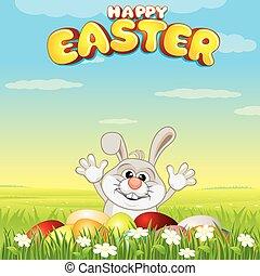 uova, pasqua, cartone animato, caccia, coniglietto