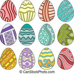 uova, pasqua, colorito, collezione