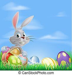 uova pasqua, coniglietto, in, campo