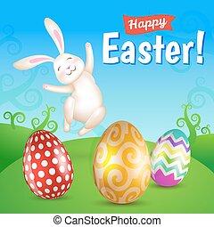 uova pasqua, e, bianco, saltare, coniglietto, in, il, prato
