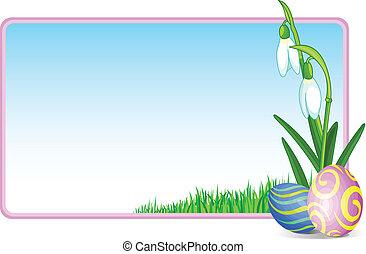 uova pasqua, e, fiori