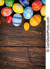 uova pasqua, su, legno, fondo