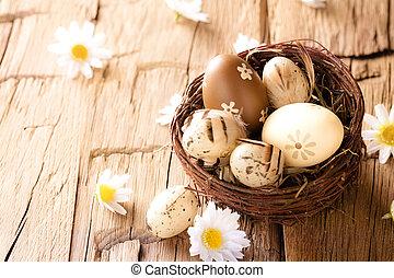 uova pasqua, su, legno, superficie