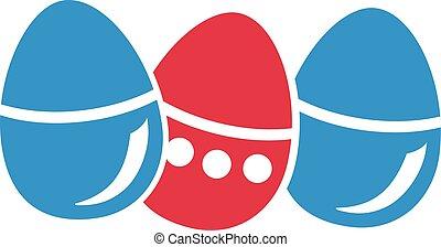 uova, pasqua, tre, fila