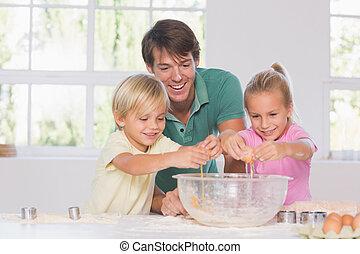 uova, rottura, ciotola, bambini