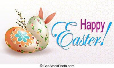 uova, silhouette, salice, luce, coniglio, ramo, pasqua, composizione, orecchie