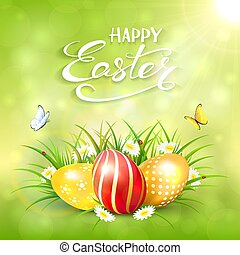 uova, soleggiato, sfondo verde, erba, pasqua